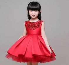 Red Wedding Dress Red Christmas Dress Red Toddler Dress with Sequined Embellishment Free Silver Tiara Red Flower Girl Dresses, Princess Tutu Dresses, Wedding Dresses For Girls, Lovely Dresses, Little Girl Dresses, Flower Girls, Girls Dresses, Dress Red, Dress Wedding