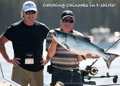 Catching Chinooks in t-shirts! Guided salmon fishing in the Queen Charlottes in the warm summer sun. Salmon Fishing, Summer Sun, Queen, Warm, T Shirt, Supreme T Shirt, Tee Shirt, Tee