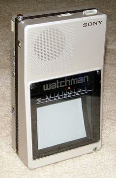 Vintage Sony Watchman Miniature Television, Black & White, Model FD-40A, Made in Japan, 8.25 Inches High x 4.75 Inches Wide, Manufacturer Date - October 1985.