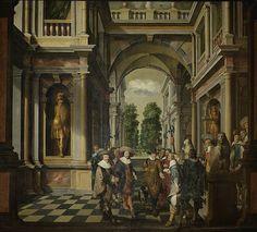 1630-32.Onderdeel van een zevendelige kamerbeschildering in vijf stukken met afbeeldingen van een interieur,twee galerijen en twee buitentrappen,bevolkt met talrijke personen.Dit stuk toont een galerij van een paleis met ornamentale architectuur en standbeelden.Met (van links naar rechts) portretten van Floris II van Pallandt,graaf van Culemborg,Frederik V, koning van Bohemen (de winterkoning) en prins Maurits.Dirk van Delen. Rijksmuseum.