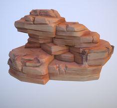 Cartoon Desert Rock, Alexey B. on ArtStation at https://www.artstation.com/artwork/breRr