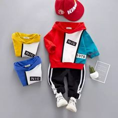 High quality boy girl clothing set new fashion active patchwor kid suit children - My favorite children's fashion list Baby Outfits, Sport Outfits, Pullover Hoodie, Sweater Hoodie, Toddler Fashion, Boy Fashion, Kids Suits, Camisa Polo, Outfit Sets