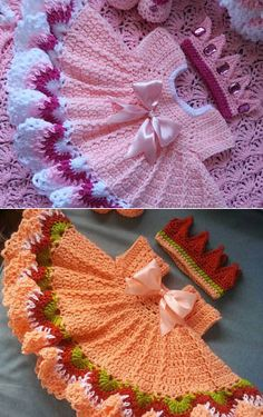 Crochet peach baby dress set with colorful trim Baby Girl Crochet, Crochet Baby Clothes, Crochet For Kids, Baby Girl Dress Patterns, Baby Girl Dresses, Baby Patterns, Crochet Designs, Crochet Patterns, Crochet Accessories