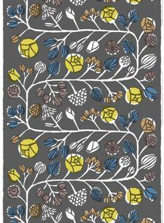 Kranssi - paksu puuvilla (harmaa, keltainen, sininen) |Kankaat, Puuvillakankaat | Marimekko