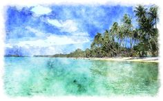 watercolor painting tropical beach wallpapers 2