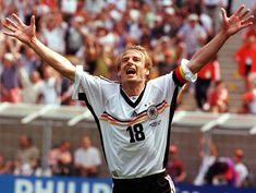 Jurgen Klinsmann celebrates Germany's game-tying goal v Yugoslavia, World Cup '98.