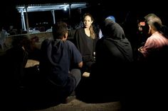 #UNHCR Special Envoy Angelina Jolie meets with refugees on the Jordanian border minutes after they crossed from #Syria. With shelling clearly audible and visible across the border in #Syria, some 200 #refugees made the dangerous crossing under cover of night.  UNHCR/J.Tanner