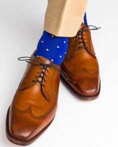 ca86b3c1654 Clematis Blue with Yolk Dot Cotton Sock Linked Toe Mid-Calf