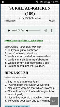 Surah kafiroon Doa Islam, Islam Hadith, Allah Islam, Islam Quran, Alhamdulillah, Islamic Surah, Quran Surah, Islamic Teachings, Dua For Ramadan