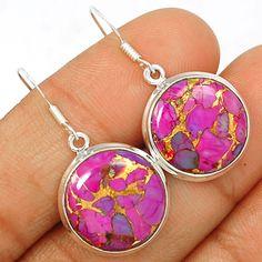 Copper Purple Arizona Turquoise 925 Sterling Silver Earrings Jewelry PCTE1132 - JJDesignerJewelry