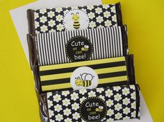10 Black & Yellow Bee Water Bottle Labels by DKDeleKtables on Etsy, $5.95