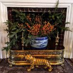 Christmas in Connecticut -- Quintessence || Lisa Hilderbrand antique house, hall fireplace filled with Christmas greens and berries, New Canaan Holiday House Tour 2015