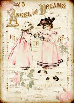 Design Free digital vintage stuff: Angel of Dreams,Patricia en Bärbel Decoupage Vintage, Decoupage Paper, Vintage Crafts, Vintage Art, Vintage Stuff, Vintage Labels, Vintage Ephemera, Vintage Postcards, Images Vintage