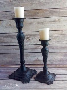 Black ornate candle holders vintage chic gothic decor up cycled ecofriendly Ready to Ship - pinned by pin4etsy.com