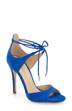 Ivanka Trump Sapphire Sandal. Slender, knotted ankle straps and a sophisticated d'Orsay cut update a peep-toe sandal. On sale!