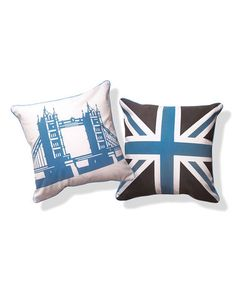 in love with this Light Blue & Brown Tower Bridge Reversible Pillow. Bedroom is blue & brown and husband is British. This is PERFECT!     #zulily