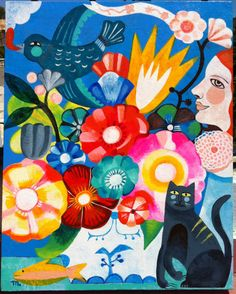 Flowers and black cat by Mercedes Lagunas