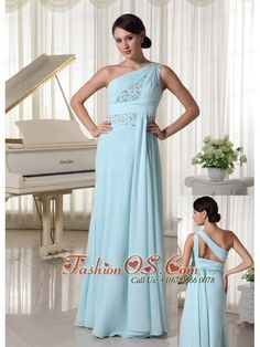 One Shoulder Chiffon Beaded Prom Dress For Custom Made Light Blue- $142.68  http://www.fashionos.com  Bandage style dresses are very popular figure flattering designs. This one wraps your body in gorgeous chiffon until. The structured bodice has one shoulder made of ruched chiffon ovelay and dazzling beading around high waist. The floor-length airy chiffon skirt lets you glide across the dance floor at ease.