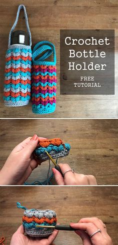 Learn how to crochet this tumbler holder, in another words - a bottle cozy ;) Learn how to crochet this tumbler holder, in another words - a bottle cozy ; Crochet Kitchen, Crochet Home, Crochet Gifts, Free Crochet, Knit Crochet, Crotchet, Knitting Patterns, Crochet Patterns, Diy And Crafts Sewing