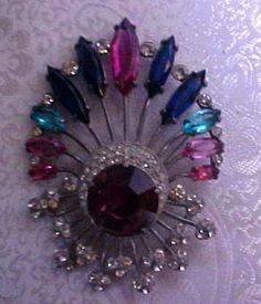HUGE PINK & BLUE EISENBERG ORIGINAL BROOCH ~ PIN | eBay