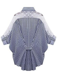 Plus Size Stripe Lace Patchwork Bat Sleeve Women Blouse Style:Casual Material:Polyester,Lace Neckline:Turn-down Collar Pattern Type:Stripe Embellishment:Lace Package Included: Blouse Styles, Blouse Designs, Xl Mode, Sewing Blouses, Top Pattern, Collar Pattern, Plus Size Blouses, Ladies Dress Design, Dress Patterns