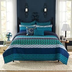 Dream of thrilling world travels with the exotic Anthology Amitra Quilt. Decked out in an array of globally inspired patterns in hues of blue, the bold bedding instantly brings excitement and whimsy to your bedroom.
