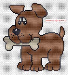 Dog, free cross stitch patterns and charts - www.free-cross-stitch.rucniprace.cz