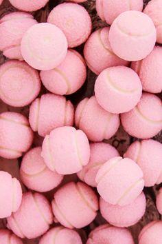 Pink tennis balls! More