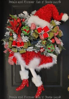 Hats N Boots Wreaths | Santa Diva Wreath 2011 Version-Petals & Plumes ...