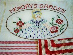 Vintage Memorys Garden Kitchen Towel Crocheted by BlackRain4