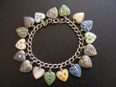 LAMPL  Sterling Silver Vintage Charms & Bracelet-17 enameled puffy heart charms