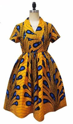 African Ankara Print Midi v-neck Dress