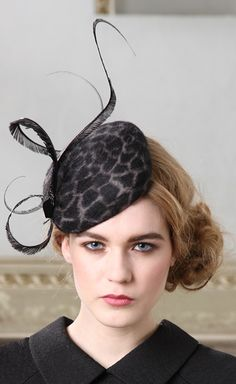 Jane Taylor Millinery, Fay, A/W 2013 - Handmade Square felt cocktail hat with ostrich feather and Swarovski crystal detail. #passion4hats