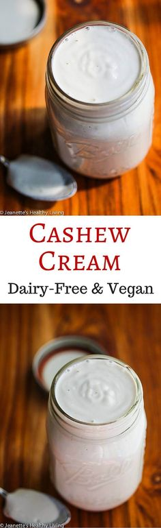 Cashew Cream - this is so rich and creamy - it makes a great dairy-free, vegan substitute for heavy cream Vegan Sauces, Vegan Foods, Vegan Dishes, Vegan Desserts, Vegetarian Diets, Lait Vegan, Fromage Vegan, Dairy Free Recipes, Raw Food Recipes