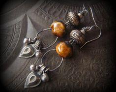 Porcelain, Hoop, Banjara, Prakeuam, Rustic,Tribal, Boho Beaded Earrings