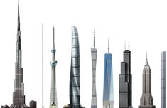 nine supertall structures: 1 pixel == 1 meter. Burj Khalifa Warsaw Radio Mast Tokyo Skytree Shanghai Tower Canton Tower One World Trade Center Wills Tower Empire State Building 432 Park Avenue 3d Architecture, Beautiful Architecture, Canton Tower, 432 Park Avenue, Shanghai Tower, Tokyo Skytree, One World Trade Center, Empire State Building, Places To Go