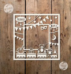 Toy Train Photo Frame SVG PDF Papercutting by TommyandTillyDesign