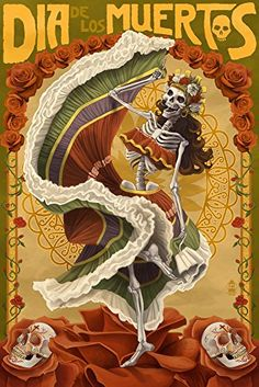 Day of the Dead  Skeleton Dancing 9x12 Art Print Wall Decor Travel Poster ** Check out this great product. Note:It is Affiliate Link to Amazon.