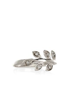 Sterling Silver Crystal Leaf Ring