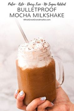 You are going to love this Bulletproof Keto Mocha Milkshake, that's made with healthy ingredients without spiking your blood sugar. It's dairy free and paleo, with 6 grams of net carb! Dairy Free Milkshake, Keto Milkshake, Milkshake Recipes, Raspberry Smoothie, Apple Smoothies, Smoothie Drinks, Dairy Free Recipes, Real Food Recipes, Diet Recipes
