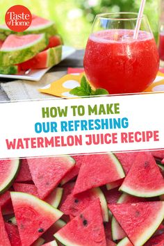 It won't take long to make this simple but refreshing watermelon juice recipe. You'll need a blender, some watermelon and not much more! Breakfast Juicing Recipes, Healthy Juice Recipes, Healthy Juices, Healthy Drinks, Smoothie Recipes, Detox Juices, Juicer Recipes, Detox Drinks, Salad Recipes