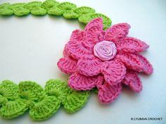 Red rose flower headband for baby girl crochet headband baby arc crochet pattern flower headband crochet flower by lyubavacrochet mightylinksfo Choice Image