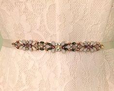 Romantic Rose Gold, Olive, Champagne, Lavender and Ivory Floral Crystal Embellished Multi Colored Bridal Bridesmaids Satin Ribbon Sash Belt