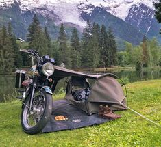 Looking forward to some warmer weather and another chance to go camping with the Goose. Tent Camping, Camping Gear, Bushcraft Camping, Camping Outdoors, Camping Photo, Camping Survival, Motorcycle Tent, Motorcycle Adventure, Biker Love
