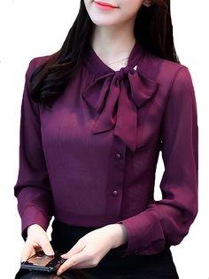 Buy Women's Shirt O Neck Long Sleeve Bowknot Decoration Solid Fashion Top & Shirts - at Jolly Chic