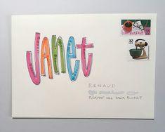 pushing the envelopes: May PTEX to Janet Envelope Lettering, Envelope Art, Envelope Design, Wall Writing, Letter Writing, Letter Art, Mail Art Envelopes, Addressing Envelopes, Cute Envelopes