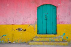 Pink, Yellow & Turquoise color blocking... Wouldn't it be fun to do this on the back of a potting shed or pole barn?