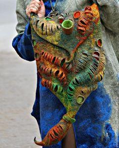 """Extraordinary handmade felted bag / Женские сумки ручной работы. Ярмарка Мастеров - ручная работа. Купить Авторская арт-сумка """"Кальмар"""". Handmade. Разноцветный, желтый"""