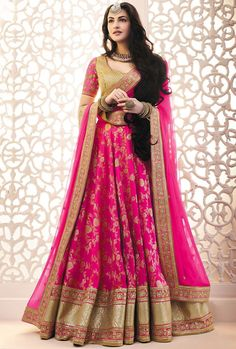 Shop Latest Bridal Lehenga choli online in UK for Weddings. Appealing Pink Brocade with Lace Embroidered Wedding Lehenga Choli Lehenga Choli Online, Ghagra Choli, Bridal Lehenga Choli, Lehenga Saree, Anarkali, Brocade Lehenga, Wedding Lehnga, Kanjivaram Sarees, Wedding Dresses