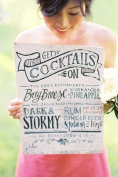 seriously awesome hand-lettered cocktail sign